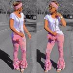 New Fashion Pink Flare Floral Ruffled Draped Printing Pants