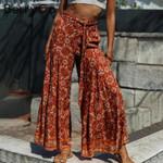 Flora print casual pants High waist sash wide leg trousers capris