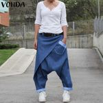 Plus Size Party Casual Denim Harem Pants Bohemian