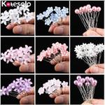 Wedding Crystal Resin Flower Hair pins For Silver Bridal Hair