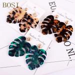 hot Bohemian tree leaves long pendant Acrylic earrings