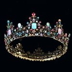 Royal Queen Crown Colorful Jelly Crystal Rhinestone Stone Wedding