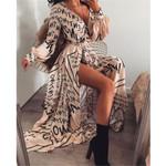 Long Maxi Casual Loose Beach Dress Ankle-Length Empire V-Neck