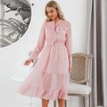 Hollow out party Casual ruffled high waist bow long sleeve