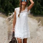 Beach Shorts Casual Tassel White Mini Lace Dress