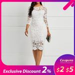Party Date White See Through Hollow Out Floral Lace Bodycon Dress