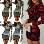 sukienki Long Sleeves Bodycon Striped Printed Zipper Party Club dress