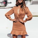 Long Sleeve Sexy Robe Party Casual Short Ruffles Twist Bodycon Dresses