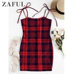 Houndstooth Plaid Tie Shoulder Bodycon Dress