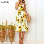 Sunflower Party Plus Size Flower Beach Dress