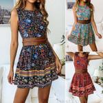 Hot Sale New Style Sleeveless Boho Floral Short Mini Dress