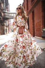 New Flower Print Boho Long Sleeve O-Neck Maxi Dress