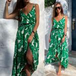 Sexy Boho Maxi Floral V-Neck Holiday Sleeveless Split Dress