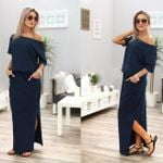 Long Maxi Boho Solid Short Sleeve Evening Party Pocket Dress