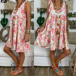Plus Size Retro Boho Sleeveless Beach Casual Dress