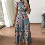Long Maxi Floral Print Boho Beach Dress