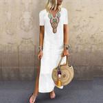 Maxi Print V-neck Side Slit Bohemian Dresses