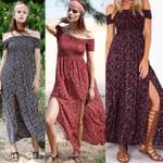 Sexy Strapless Beach Sundresses Vintage Bohemian Maxi Dress