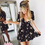 Mini Boho Floral Short Sleeve V Neck Evening Party Beach Dress