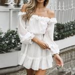 Off Shoulder Pure Color Long Sleeves Dress