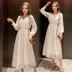 Maternity wear Korean version lace maternity long sleeve dress