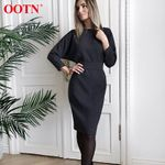 Casual Black Solid Long Sleeve Dress