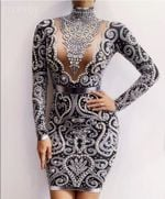 Black Gray Rhinestones Pearls Long Sleeves Dress