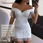 White Tassel Backless off shoulder Short Mini Dress