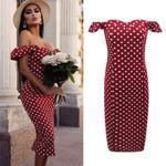 New Sexy Off Shoulder Short Sleeve polka dot dress