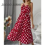 Boho Sleeveless Polka Dot Long Dress