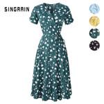 New Print Floral V Neck Short Sleeves Chiffon Bohemian Dresses