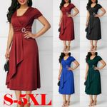 Plus Size Elegant Sexy Hem Waisted Short Sleeve V Neck Midi Dress