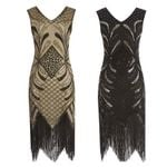 Party Robe Great Gatsby Flapper Sequin Fringe Midi Dress
