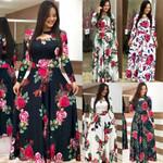 Elegant Spring Casual Bohmia Flower Print Maxi Dresses