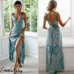 Hot Beach Long Maxi V Neck Floral Boho Sexy Sleeveless Print