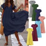 Plus Size Ruffle Asymmetrical Sundress Fashion Maxi Vestidos