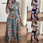 New Style Long Sleeve Flower Printed Long Dress