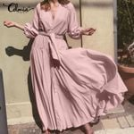 Bohemian Ruffles Sexy V neck Long Maxi Dress