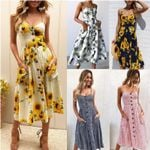 Sexy Beach Long Boho Strap Print Floral Casual Loose Plus Size  Midi Dress