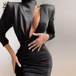 Spring New Fashion Black Mini Sexy Cutouts Backless Dresses