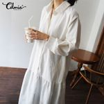 New Long Shirt Casual Vintage Ruffles Midi Dress