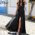 Bohemian Polka Dot Print Long Shirt Dress