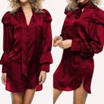 Long Sleeve Bow Tie Satin Mini  Solid Sexy V-Neck Pleated Shirt Dress