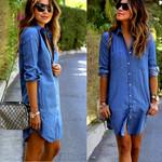 Hot Denim Button Spring Long Sleeve Casual Mini Shirt Dress