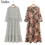 dots print maxi pleated three quarter sleeve  dresses