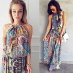 Boho Style Floral Print Beach Dress