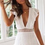 Elegant White Embroidery Short Dress