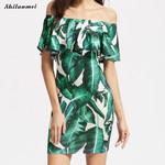 Off Shoulder Palm Leaf Banana Leaf Print Sexy Mini Dress