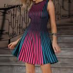 Sexy Sleeveless Stripe Print Mini Dress