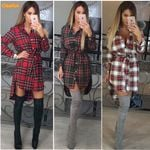 Red Plaid Long sleeve Casual Hot Plaid Dress